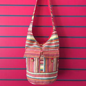 Pink Lightweight Stripy Shoulder Bag