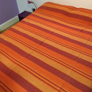 Woven Striped Double Bedspread Orange
