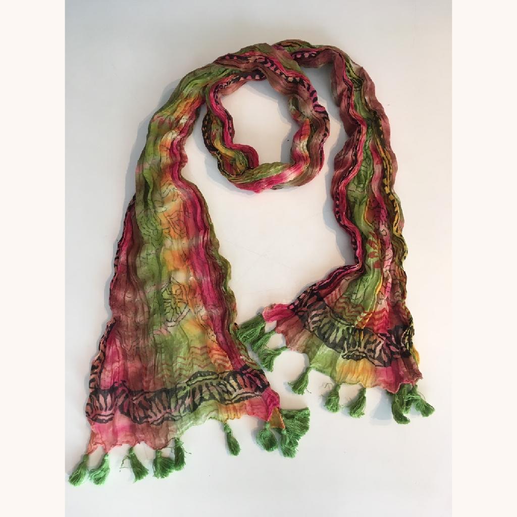 Green Tassel Tie Dyed Scarf