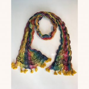 Yellow Tassel Tie Dyed Scarf
